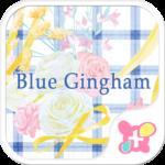 Flower Theme-Blue Gingham-