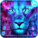 Galaxy Blue Eyes Lion Keyboard Theme