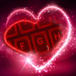 Live Neon Red Heart Keyboard Theme